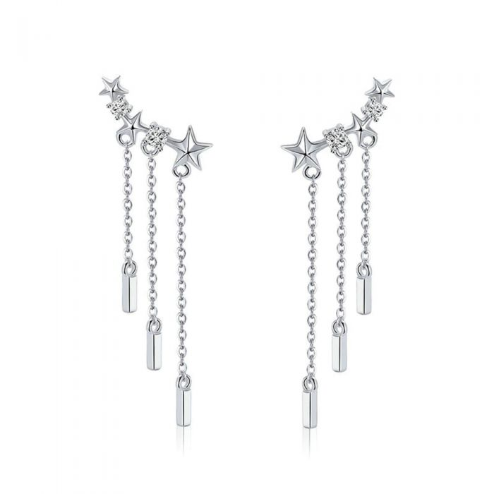 Image for White Swarovski crystals star dangling earrings