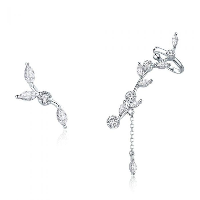 Image for Women's Flower Earrings made with White Crystal from Swarovski and 925 Silver