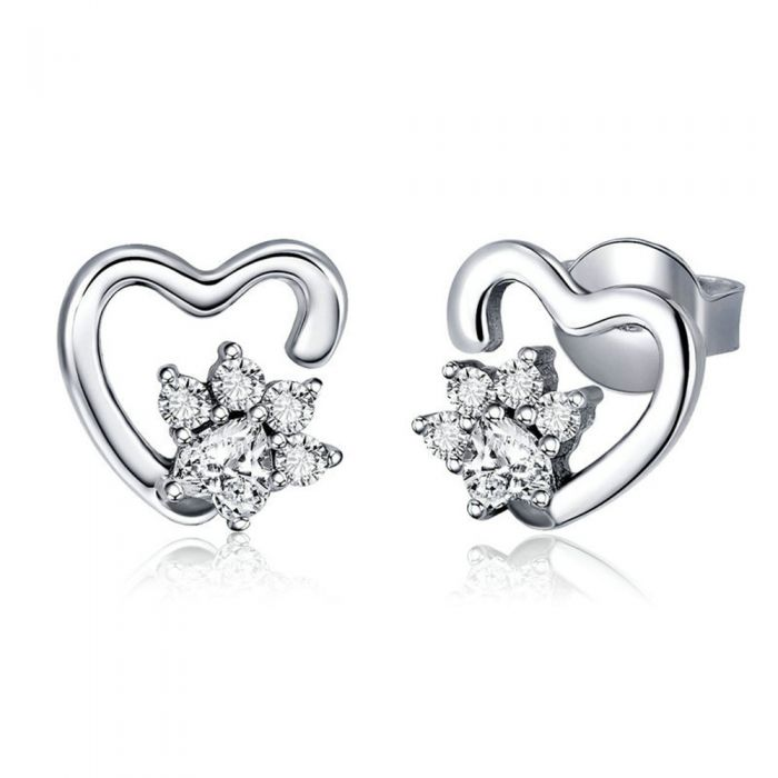 Image for White Swarovski crystals heart earrings