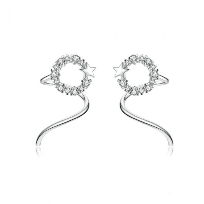 Image for Star Women's Earrings made with White Crystal from Swarovski and 925 Silver