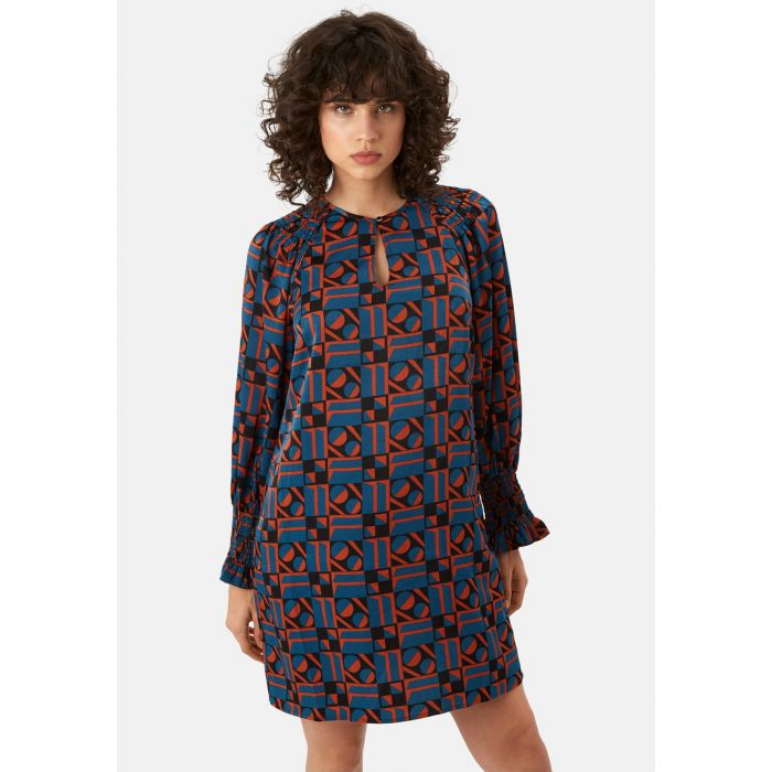Image for Mollie Shift Mini Dress in Blue and Rust Red