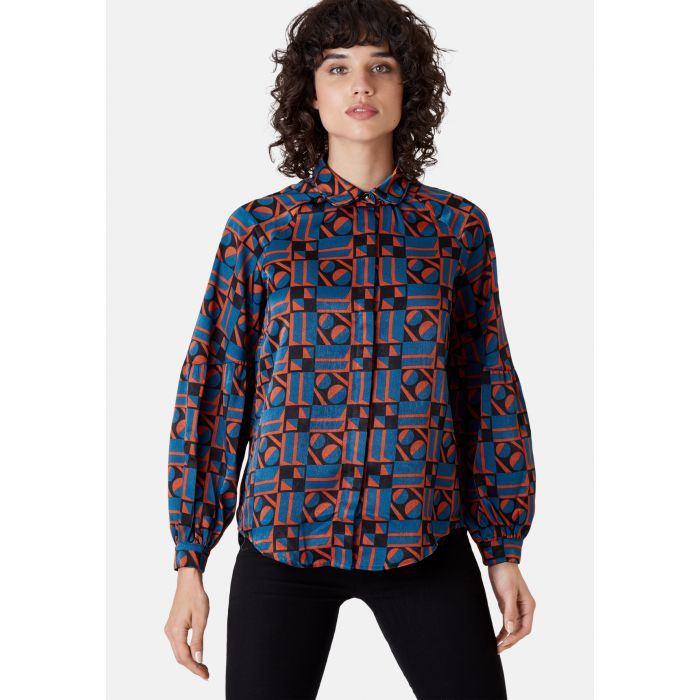 Image for Silence Satin Long Sleeve Shirt in Blue and Rust