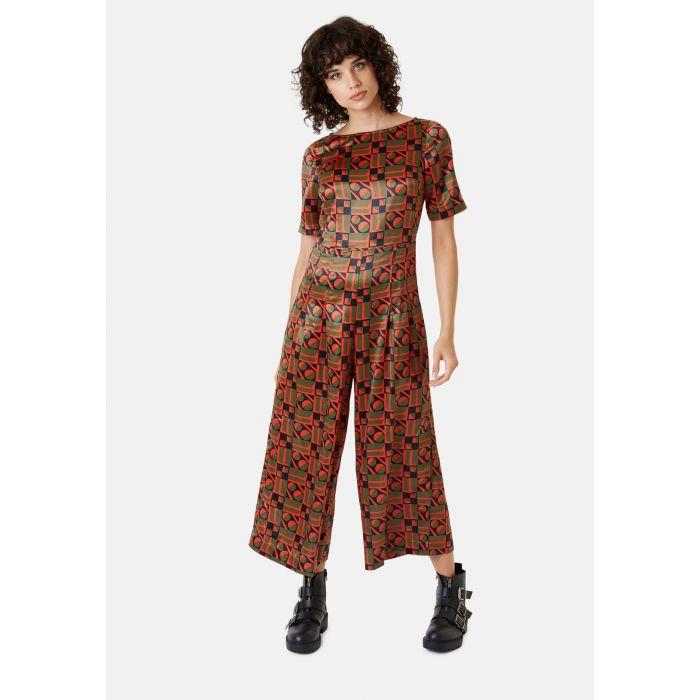 Image for Bianca green and orange satin geometric jumpsuit