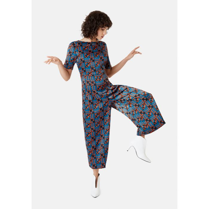 Image for Bianca Short Sleeve Geometric Jumpsuit in Blue and Rust Red