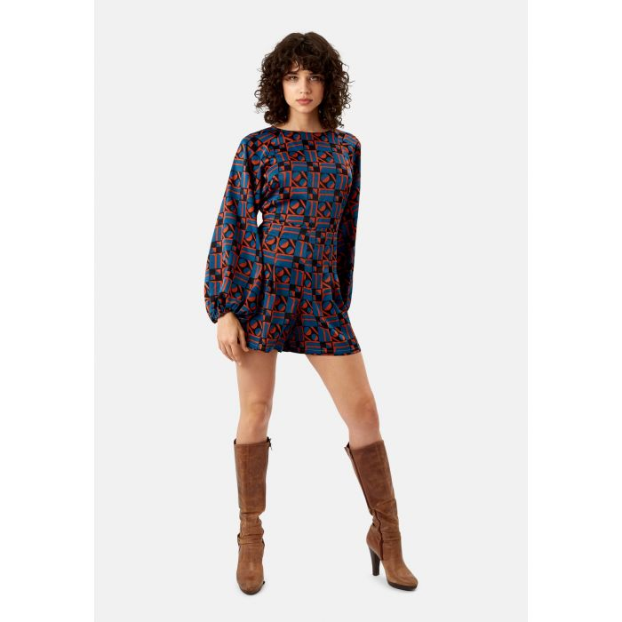 Image for Bambi Satin Geometric Playsuit in Blue and Rust Red