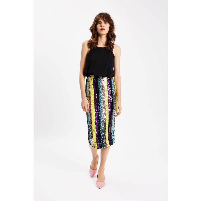 Image for Rainbow Ricochet Sequin Pencil Dress in Black