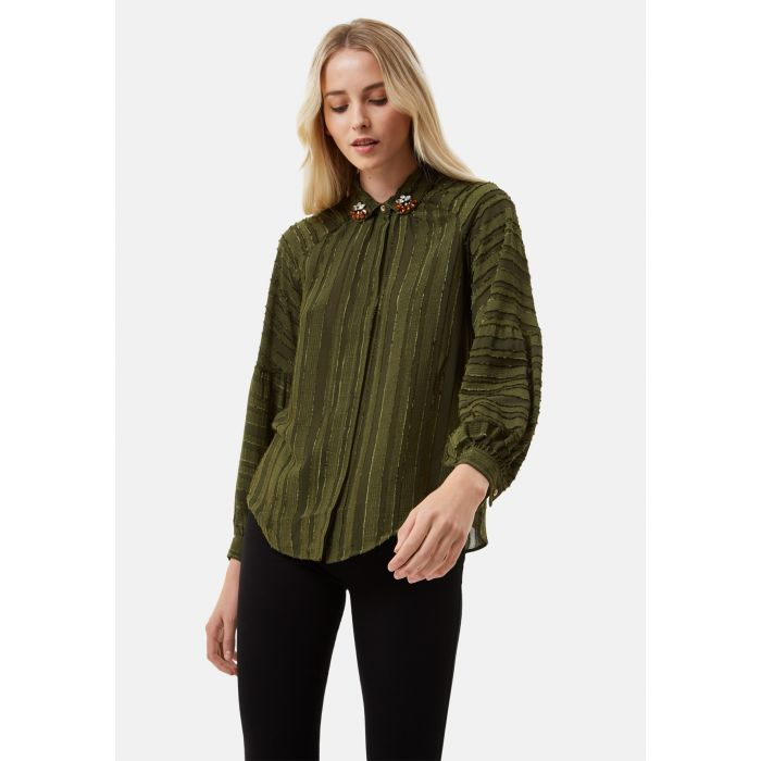 Image for Silence and Awe Textured Long Sleeve Shirt in Green