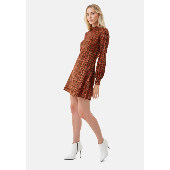 Image for Cher Mini Printed Tunic Dress in Red and Brown