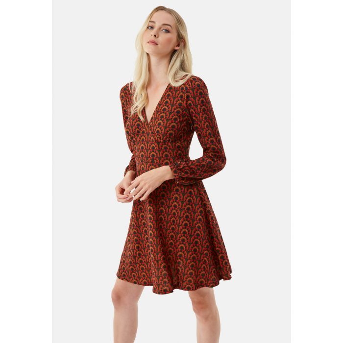 Image for Little Pulse Mini Long Sleeve Dress in Red/Brown