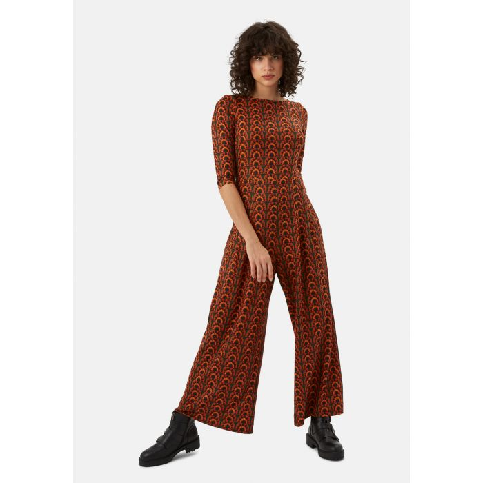 Image for Jagger Printed Long Sleeve Jumpsuit in Orange and Green