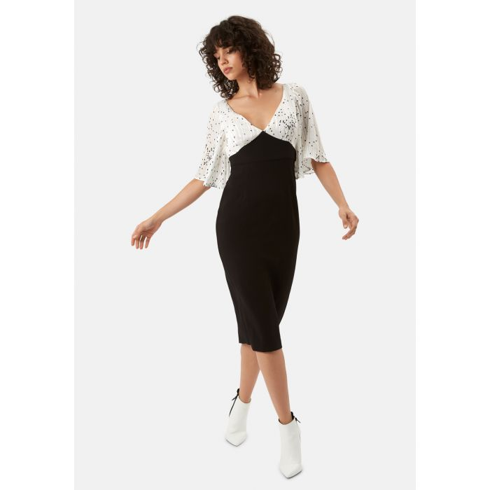 Image for Wiggle and Smile Midi Pencil Dress in Black and White