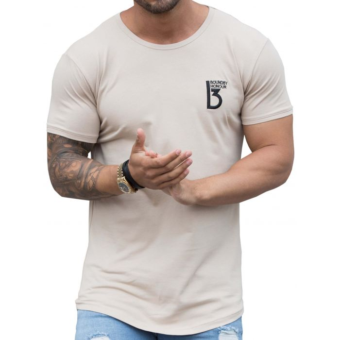 Image for Stone muscle fit curved hem T-shirt