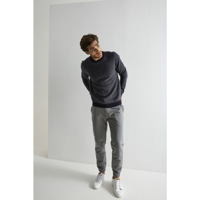 Image for Mens blue wool blend patterned knitwear