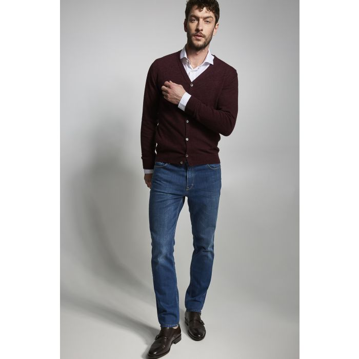 Image for Mens bordeaux wool blend knit cardigan