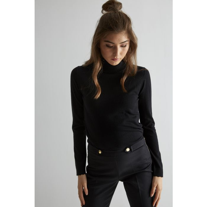 Image for Womens black polo neck jumper