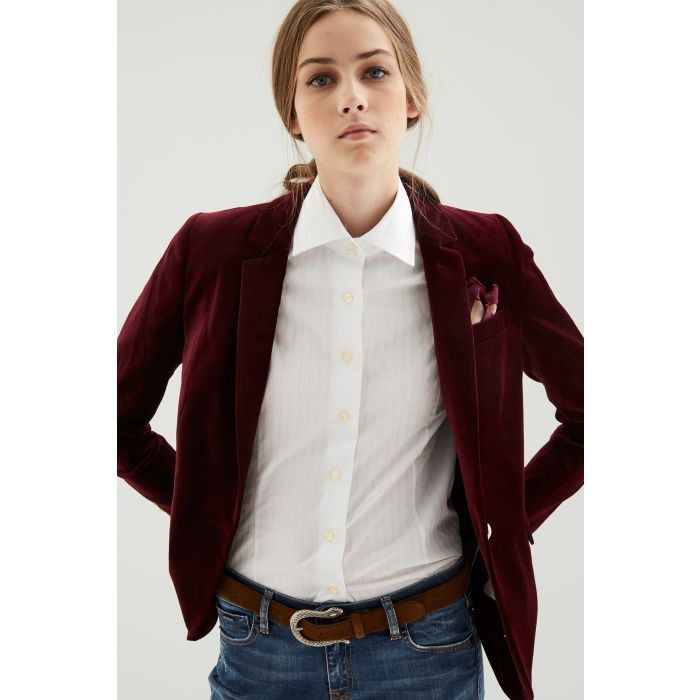 Image for Womens bordeaux velvet blazer