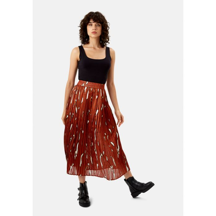 Image for Falls Pleated Midi Skirt in Rust Red