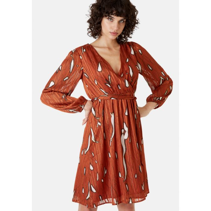 Image for Maybe rust red wrap mini dress