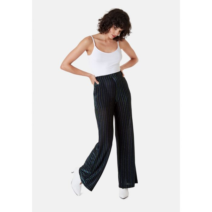 Image for Metallic Stripe Straight Leg Trousers in Blue
