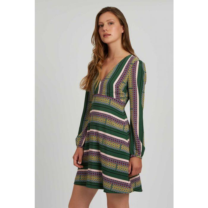 Image for Mama Mia Geometric Mini Dress in Green and Purple