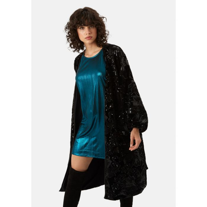 Image for Trespass Tease black velvet and sequin duster jacket