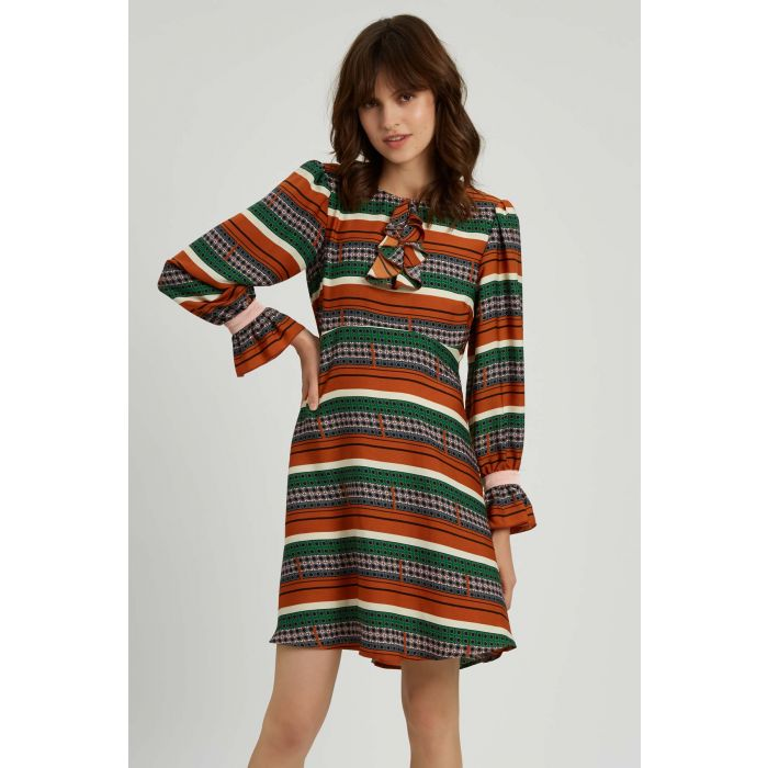 Image for Thrilled Geometric Mini Dress in Brown