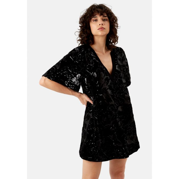 Image for Tresspass Tease Velvet Lush Mini Dress in Black