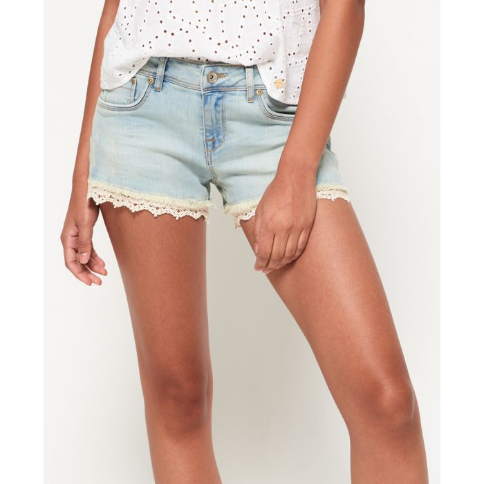 Image for Superdry Lace Trim Denim Hot Shorts