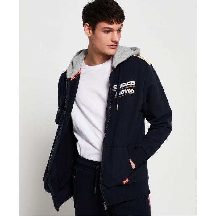 Image for Superdry Cali Oversized Striped Shoulder Zip Hoodie