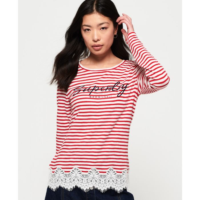 Image for Superdry Stripe Lace Graphic Top
