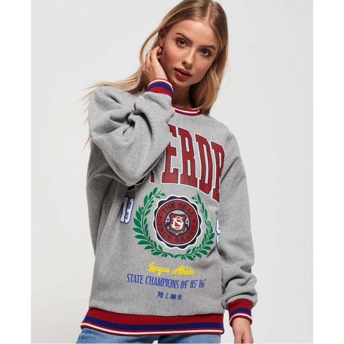 Image for Superdry Vee Varsity Oversized Crew Jumper