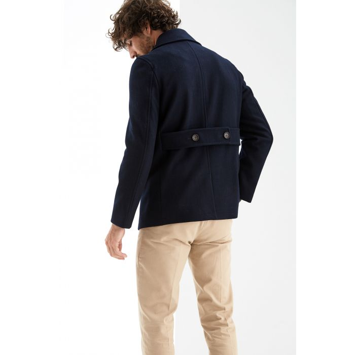 Image for Blue wool blend double breasted overcoat