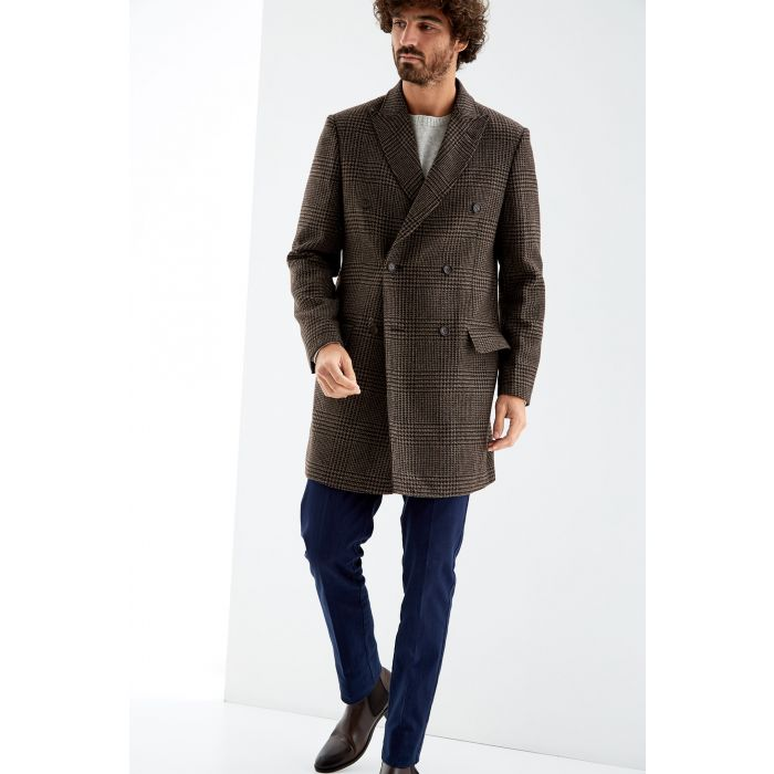 Image for Brown pure wool Prince of Wales overcoat