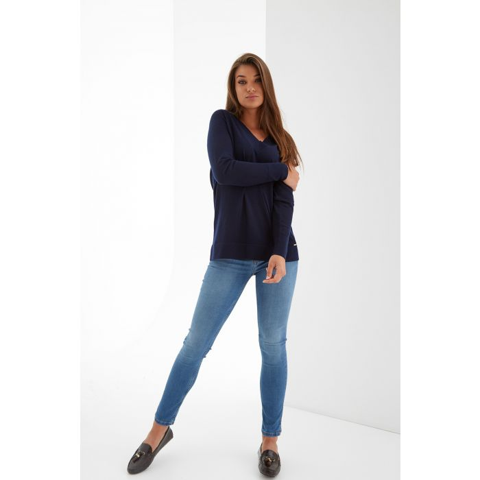 Image for Womens blue v-neck jumper