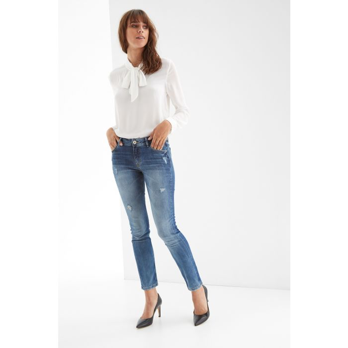 Image for Womens blue distressed jeans