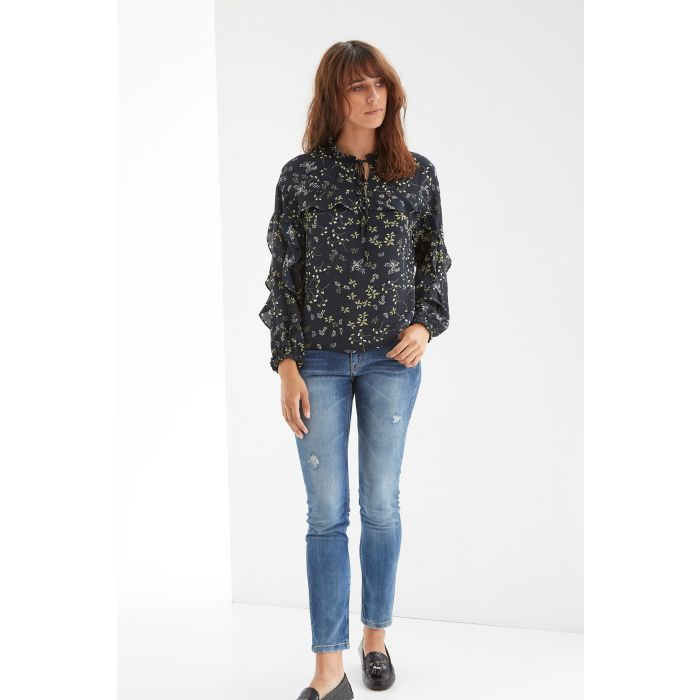 Image for Womens grey floral romantic blouse