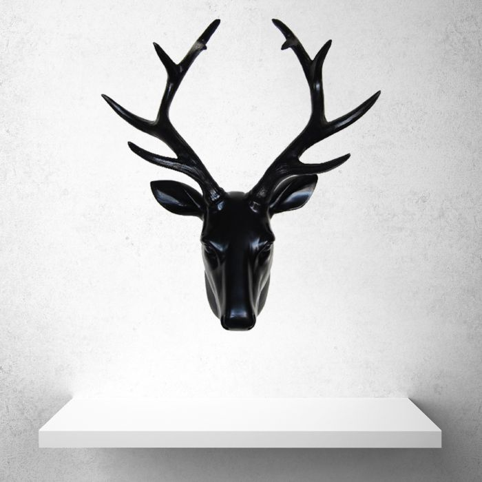 Image for Contemporary Taxidermy Deer Head Wall Art Decorations Home or gifts idea - Black
