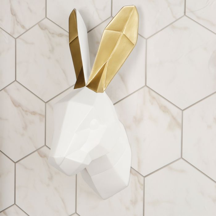 Image for Contemporary Taxidermy White Rabbit Gold Ears Home or gifts idea