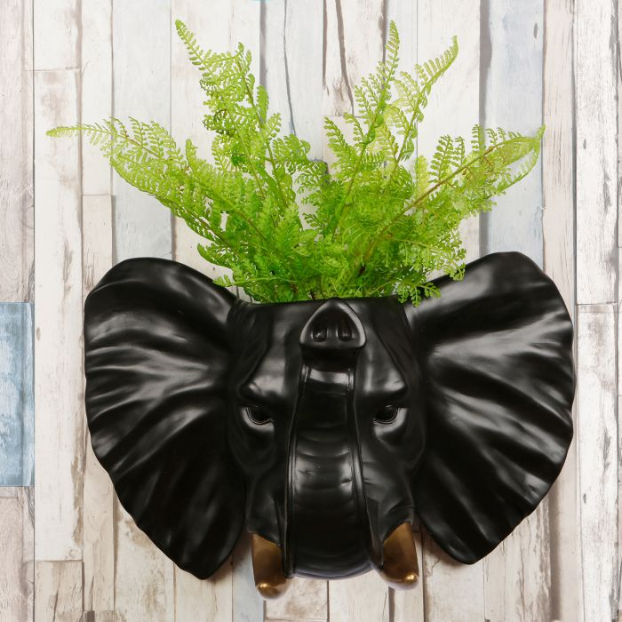 Image for 2 in 1 White Faux Taxidermy Black Elephant Gold Tusks Pot Wall Hanging Plant Pot Home Garden Decoration