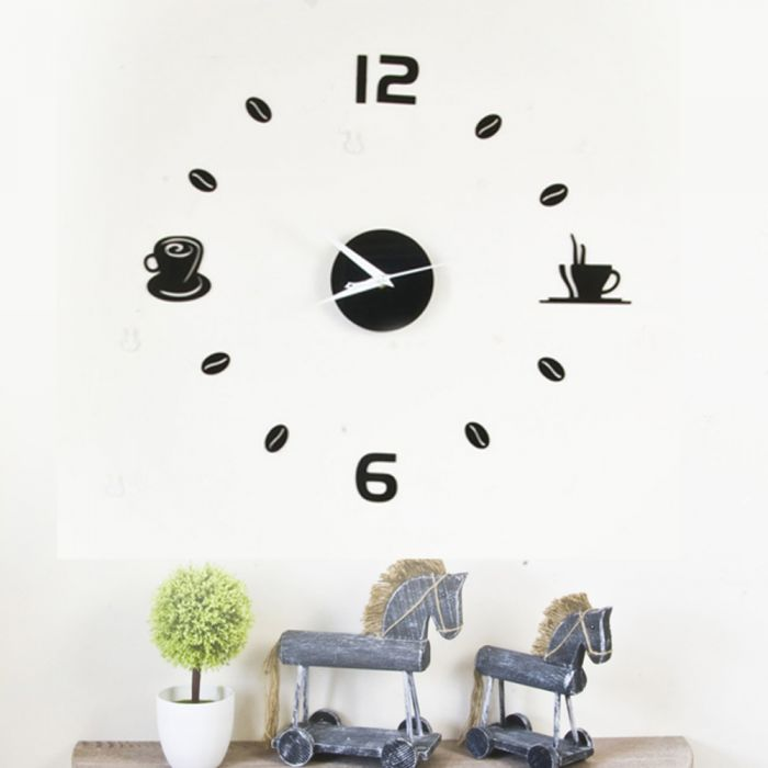Image for Walplus Wall Sticker Clock with Coffee Art
