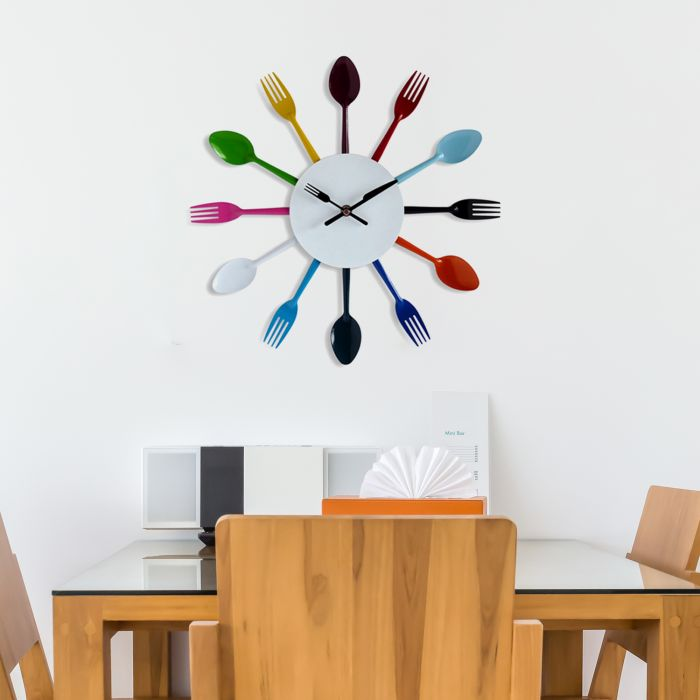 Image for Walplus Colourful Home Cutlery Wall Clock