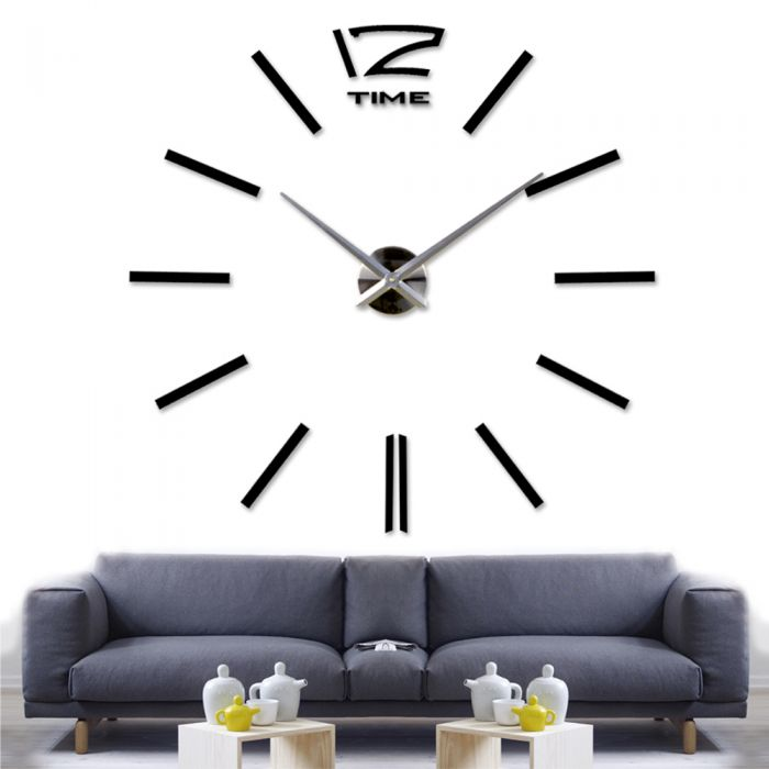 Image for Walplus Wall Sticker Giant Black Clock with Clock Mechanism