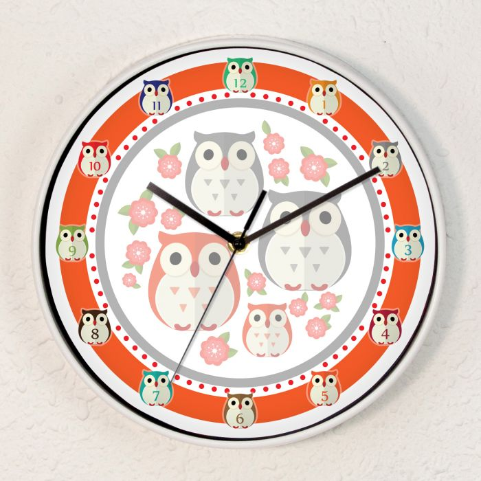 Image for Kids Owls Girls Room Children Wall Clock