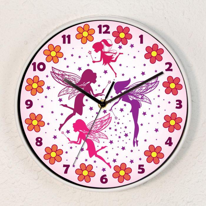 Image for Magic Fairies Children Wall Clock Kids Gilrs Room