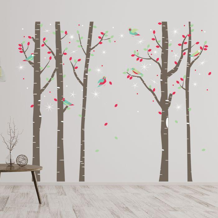 Image for Walplus Birch Tree Forest with Swarovski Crystals Wall Sticker