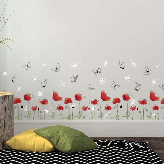 Image for Walplus Wall Sticker Red Poppy with Swarovski Crystals