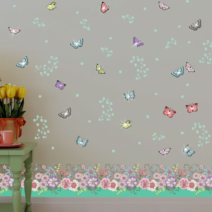 Image for Walplus Wall Sticker Colourful Butterfly Skirting Pack Art Decal Decoration with Swarovski Crystals