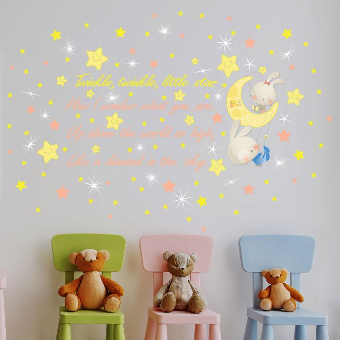 Image for Walplus Wall Sticker Twinkle Twinkle Little Star Decals Art Decoration with Swarovski Crystals