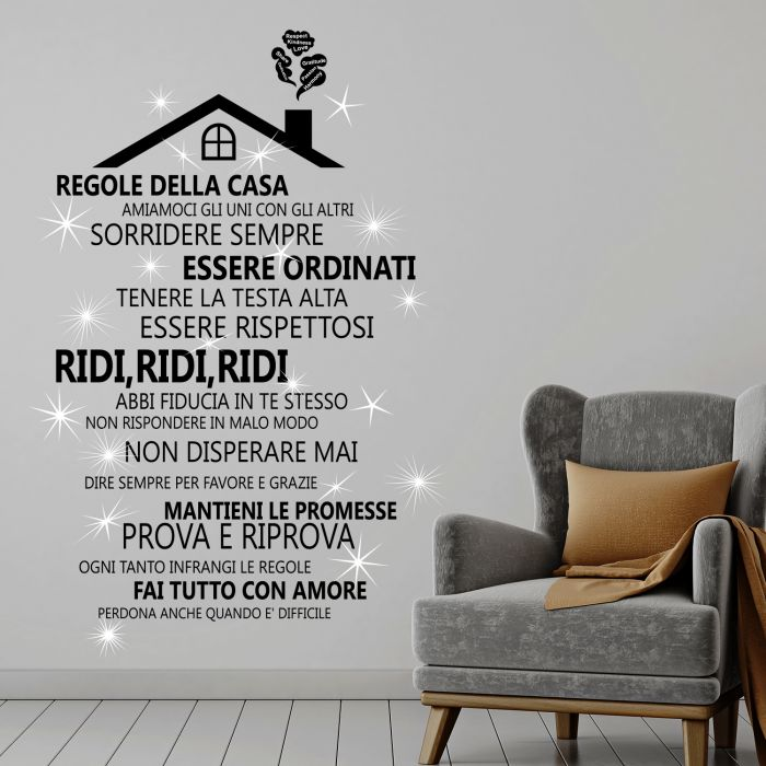 Image for Wall Sticker Decal Rooftop House Rules with Italian and Swarovski Crystals