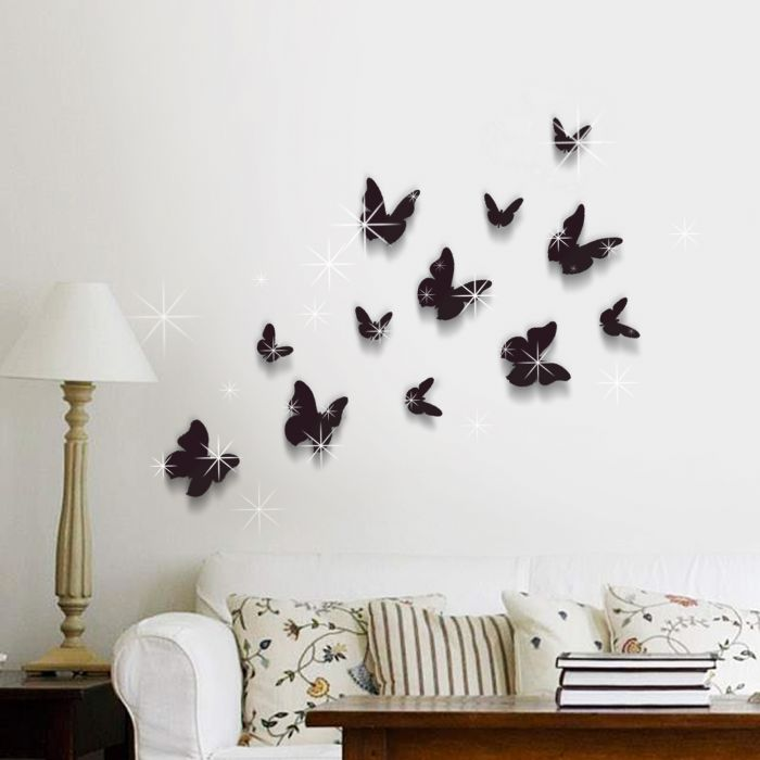 Image for 3D Butterfly Black and Swarovski 2.9mm Clear Crystals Wall Sticker
